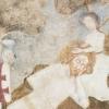 Szent László megpihen a lány ölében, koronája, kesztyűje, pajzsa egy fán függ