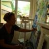 Tornay Krisztina selyemre festett