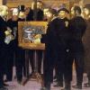 Maurice Denis: Hommage à Cézanne, 1900 Balról jobbra:  Edouard Vuillard, a kritikus André Mellerio kalapban, Vollard a festőállvány mögül, Maurice Denis, Paul Ranson, Ker-Xavier Roussel, a pipázó Pierre Bonnard a szélen, és végül Marthe Denis, a festő fiatal felesége.